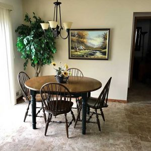 Dining room table in a temporary furnished housing