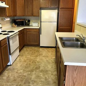 Full sized kitchen included with your short term furnished house